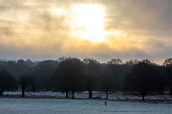 © Licensed to London News Pictures. 28/12/2020. London, UK. Walkers enjoy a frosty Richmond Park, South West London as it turned into a winter wonderland this morning as temperatures dropped to -3c in the South East today. The Met Office has issued a yellow weather warning for snow and ice for much of the country with heavy snow falls already in Wales, West Midlands, and Cheshire last night. Photo credit: Alex Lentati/LNP