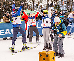 25.01.2020, Streif, Kitzbühel, AUT, FIS Weltcup Ski Alpin, im Rahmen der KitzCharityTrophy 2020 am Samstag, 25. Jänner 2020, auf der Streif in Kitzbühel. // f.l. Alfons Mensdorff-Pouilly Didier Cuche Elena Bokova during the KitzCharityTrophy 2020 at the Streif in Kitzbühel, Austria on 2020/01/25, im Bild v.l. Alfons Mensdorff-Pouilly, Didier Cuche, Elena Bokova // f.l. Alfons Mensdorff-Pouilly Didier Cuche Elena Bokova during the KitzCharityTrophy 2020 at the Streif in Kitzbühel, Austria on 2020/01/25. EXPA Pictures © 2020, PhotoCredit: EXPA/ Stefan Adelsberger