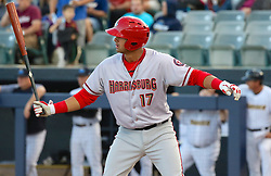 May 2, 2017 - Trenton, New Jersey, U.S - DREW WARD of the Harrisburg Senators at bat in the game vs. the Trenton Thunder at ARM & HAMMER Park. He would hit a two-run homer later in the game. (Credit Image: © Staton Rabin via ZUMA Wire)