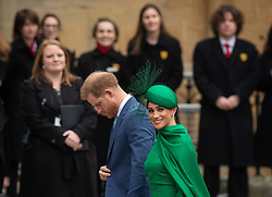 The Duke and Duchess of Sussex arrive at the Commonwealth Service at Westminster Abbey, London on Commonwealth Day. The service is their final official engagement before they quit royal life. PA Photo. Picture date: Monday March 9, 2020. See PA story ROYAL Commonwealth. Photo credit should read: Dominic Lipinski/PA Wire