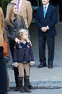 Princess Letizia, Princess Leonor, Princess Sofia and Prince Felipe of Spain visit King Juan Carlos of Spain at San Jose Hospital on November 25, 2012 in Madrid Spain