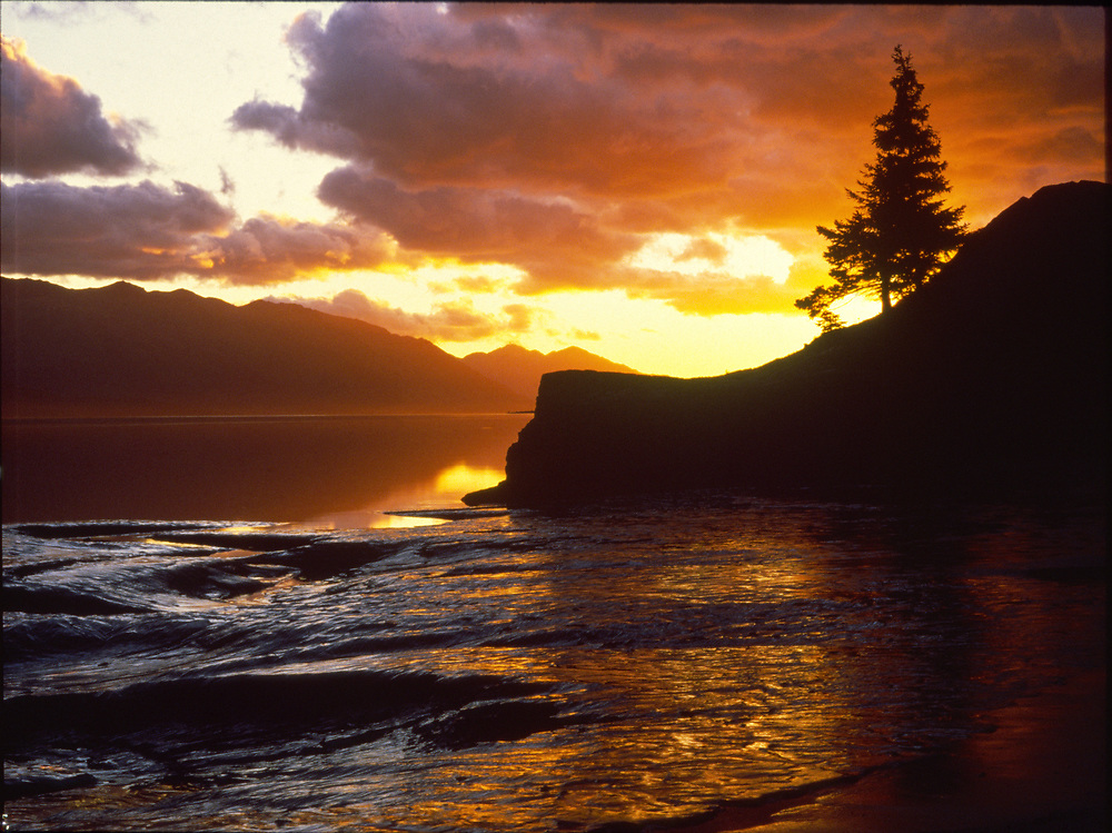 Alaska. Sunset on the historic Turnagain Arm named by Captain Cook.
