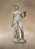 Roman marble sculpture of Antinous as Bacchus, a 2nd century AD, inv no 6314 - Farnese Collection, Naples Archaeological Muueum ..<br /> <br /> If you prefer to buy from our ALAMY STOCK LIBRARY page at https://www.alamy.com/portfolio/paul-williams-funkystock/greco-roman-sculptures.html . Type -    Naples    - into LOWER SEARCH WITHIN GALLERY box - Refine search by adding a subject, place, background colour, museum etc.<br /> <br /> Visit our CLASSICAL WORLD HISTORIC SITES PHOTO COLLECTIONS for more photos to download or buy as wall art prints https://funkystock.photoshelter.com/gallery-collection/The-Romans-Art-Artefacts-Antiquities-Historic-Sites-Pictures-Images/C0000r2uLJJo9_s0c