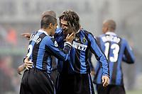 """Hernan Crespo (R), Ivan Cordoba (L) (Inter) celebrate Crespo goal<br /> <br /> Crespo esulta dopo il gol con Cordoba<br /> <br /> Italian """"Serie A"""" 2006-07<br /> <br /> 28 Oct 2006 (match 9)<br /> <br /> Milan Inter 3-4<br /> <br /> """"Giuseppe Meazza"""" Stadium-Milano-Italy<br /> <br /> Photographer Andrea Staccioli  INSIDE"""