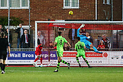 Forest Green Rovers goalkeeper Harry Pickering(24) makes a save during the Pre-Season Friendly match between Worthing FC and Forest Green Rovers at Woodside Road, Worthing, Uni on 1 August 2017. Photo by Shane Healey.