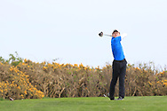 Joshua Hill (Galgorm Castle) on the 17th tee during Round 2 of the Connacht U16 Boys Amateur Open Championship at Galway Bay Golf Club, Oranmore, Galway on Wednesday 17th April 2019.<br /> Picture:  Thos Caffrey / www.golffile.ie