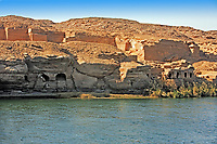 Cliff Dwelling troglodytes house on the shore of the river nile in egypt