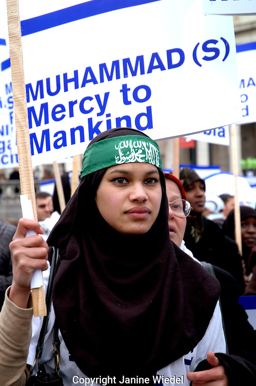 Muslim woman and children demonstrating  in Central London protesting against Islamophobia and incitement to racial hatred following cartoon publication FEB 2006.
