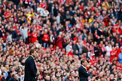 Liverpool Manager Brendan Rodgers (R) looks frustrated as Aston Villa Manager Tim Sherwood (L) looks on - Photo mandatory by-line: Rogan Thomson/JMP - 07966 386802 - 19/04/2015 - SPORT - FOOTBALL - London, England - Wembley Stadium - Aston Villa v Liverpool - FA Cup Semi Final.
