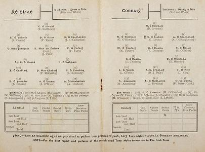 All Ireland Senior Hurling Championship Final,.Programme,.07.09.1952, 09.07.1952, 7th September 1952, .Cork 2-14, Dublin 0-7,.Minor Dublin v Tipperary,.Senior Cork v Dublin, .Croke Park, ..Dublin Senior Team, K Matthews, Goalkeeper, S Cronin, Right corner-back, P Ryan, Full-back, J O'Callaghan, Left corner-back, D Mac Feargusa, Right half-back, J Prior, Captain, Centre half-back, T Fahy, Left half-back, Lt C O Murcu, Midfielder, N O hAlmain, Midfielder, G O Ceallaig, Right half-forward, P McCarthy, Centre half-forward, S Kennedy, Left half-forward, J Finnan, Right corner-forward, A O'Brien, Centre forward, A Herbert, Left corner-forward, Substitutes, M Hassett, M Williams, M Wilson, N Dromgoole, P Lillis, ..Cork Senior Team, D Creedon, Goalkeeper, G O'Riordan, Right corner-back, J Lyons, Full-back, A O'Shaughnessy, Left corner-back, M Fouhy, Right half-back, V Twomey, Centre half-back, S O'Brien, Left half-back, J Twomey, Midfielder, G Murphy, Midfielder, L. Griffin, Right half-forward, W J Daly, Centre half-forward, C Ring, Left half-forward, W Abernethy, Right corner-forward, L Dowling, Centre forward, P Barry, Captain, Left corner-forward, Substitutes, M O'Riordan, M Finn, J O'Grady, M O'Connor, J Lynam, ..Advertisements, The Irish Press,