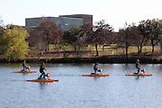 Cycle paddling on Lady Bird Lake in Austin