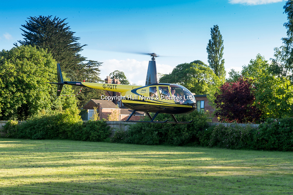 20 June 2019: Cleethorpes Academy Year 11 Prom at Brackenborough Hotel near Louth.<br /> Arriving by helicopter Ebony  Sherriff and Beth <br /> Wharton.<br /> Picture: Sean Spencer/Hull News & Pictures Ltd<br /> 01482 210267/07976 433960<br /> www.hullnews.co.uk         sean@hullnews.co.uk