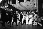 17/03/1965<br /> 03/17/1965<br /> 17 March 1965<br /> NAIDA St. Patrick's Day Parade, Dublin. Americans March in the Parade. This was the second year in whichh these Americans celebrated St. Patrick's Day in Dublin and New Jersey. Front rank (l-r): Eugene Farrell, Jersey City Ambassador to Ireland; Hugh J. Driscoll, Grand Marshall; james McCloskey, Past Grand Marshall and Mayor Thomas J. Whelan of Jersey City march past the reviewing stand outside the GPO on O'Connell Street.