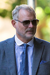 © Licensed to London News Pictures. 22/08/2019. London, UK. John Leslie arrives at Southwark Crown Court. The former BBC Blue Peter presenter is expected to enter a plea in connection with a charge of sexual assault dating from 2008. Photo credit: George Cracknell Wright/LNP