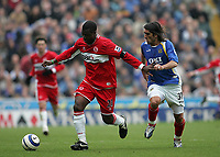Photo: Lee Earle.<br /> Portsmouth v Middlesbrough. The Barclays Premiership. 15/04/2006. Pompey's Pedro Mendes (R) battles with Yakubu.