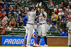 May 7, 2018 - Arlington, TX, U.S. - ARLINGTON, TX - MAY 07: Detroit Tigers center fielder Leonys Martin (12) celebrates a home run with Detroit Tigers shortstop Jose Iglesias (1) during the game between the Texas Rangers and the Detroit Tigers on May 07, 2018 at Globe Life Park in Arlington, Texas. Texas defeats Detroit 7-6. (Photo by Matthew Pearce/Icon Sportswire) (Credit Image: © Matthew Pearce/Icon SMI via ZUMA Press)