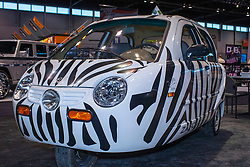 08 February 2007: Zebra 3 wheeled car from ZapCars. The Chicago Auto Show is a charity event of the Chicago Automobile Trade Association (CATA) and is held annually at McCormick Place in Chicago Illinois.