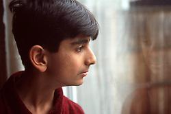 Portrait of teenage boy looking out of window,