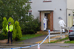 © Licensed to London News Pictures. 18/10/2021. Oxford, UK. Forensic investigators at a property on Pinnocks Way, Botley in Oxfordshire following a fatal stabbing. Thames Valley Police were called to the property at approximately 21:05 BST on Sunday 17/10/2021. A man in his thirties died at the scene. A 33-year-old man from Oxfordshire has been arrested on suspicion of murder. Photo credit: Peter Manning/LNP