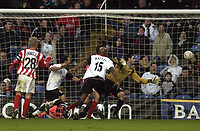 Picture: Henry Browne.<br /> Date: 04/01/2004.<br /> Fulham v Cheltenham FA Cup 3rd Round.<br /> Louis Saha's last minute effort goes into the back of the net.