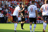 Bolton Wanderers forward Gary Madine (14) appearing to do a golf swing celebration 0-1 during the EFL Sky Bet Championship match between Charlton Athletic and Bolton Wanderers at The Valley, London, England on 27 August 2016. Photo by Matthew Redman.