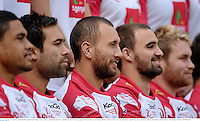 7 June 2013; Queensland Reds captain Quade Cooper, centre, during a squad photograph before a captain's run ahead of their game against British & Irish Lions on Saturday. British & Irish Lions Tour 2013, Queensland Reds Captain's Run, Suncorp Stadium, Brisbane, Queensland, Australia. Picture credit: Stephen McCarthy / SPORTSFILE