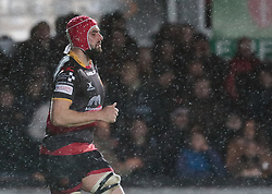 Dragons' Cory Hill takes to the pitch for the second half<br /> <br /> Photographer Simon King/Replay Images<br /> <br /> Guinness Pro14 Round 12 - Dragons v Cardiff Blues - Sunday 31st December 2017 - Rodney Parade - Newport<br /> <br /> World Copyright © 2017 Replay Images. All rights reserved. info@replayimages.co.uk - http://replayimages.co.uk