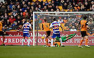 Danny Williams scores to make it 2-1 to Reading during the Sky Bet Championship match between Wolverhampton Wanderers and Reading at Molineux, Wolverhampton, England on 7 February 2015. Photo by Alan Franklin.