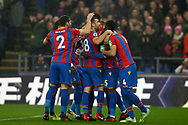 James McArthur of Crystal Palace (c) celebrates with his team mates after he scores his team's first goal. Premier League match, Crystal Palace v Everton at Selhurst Park in London on Saturday 18th November 2017.<br /> pic by Steffan Bowen, Andrew Orchard sports photography.