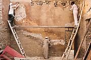 Workers at the Saint Antonius ABou Sefir Church, in Deir el Maymoun, Egypt, restore part of the church interior. Built in 200 AD the Saint Antonius ABou Sefir Church is one of Egypt's oldest churches.