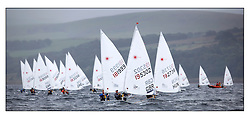 The second day of racing at the World Laser Radial Youth Championships, Largs, Scotland...Elliot Hanson GBR 195302 leads a fleet including Matthew Odowd IRL 181999..317 Youth Sailors from 42 different nations compete in the World and European Laser Radial Youth Champiponship from the 17-25 July 2010...The Laser Radial World Championships take place every year. This is the first time they have been held in Scotland and are part of the initiaitve to bring key world class events to Britain in the lead up to the 2012 Olympic Games. ..The Laser is the world's most popular singlehanded sailing dinghy and is sailed and raced worldwide. ..Further media information from .laserworlds@gmail.com.event press officer mobile +44 7866 571932 and +44 1475 675129 .
