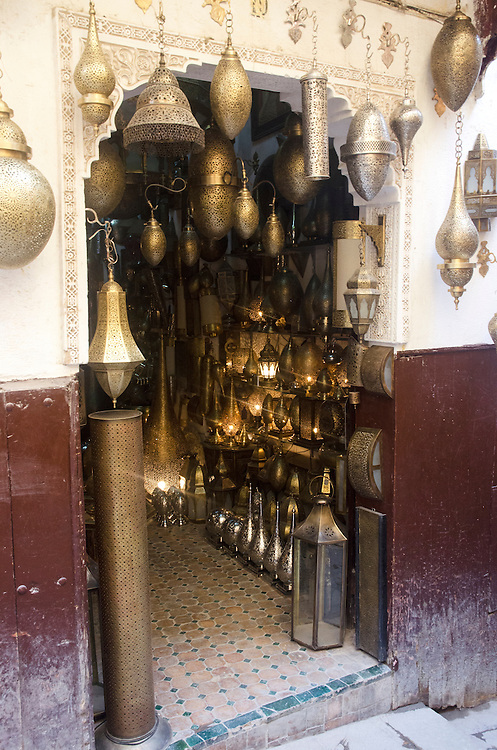 Shop with brass lamps in Fes medina Morocco