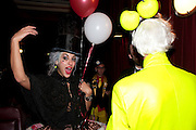 STORM IS A TEACUP-SERENA MATTAR; ANDREW LOGAN, Premiere of 'The British Guide to Showing Off' Jes Benstock's documantary on Andrew Logan's life and 12 Alternative Miss World's. Prince Charles cinema, Leicester Place. London and afterward's at Moonlighting, Greek St. London. 6 November 2011. <br /> <br />  , -DO NOT ARCHIVE-© Copyright Photograph by Dafydd Jones. 248 Clapham Rd. London SW9 0PZ. Tel 0207 820 0771. www.dafjones.com.