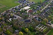 Friesland, Gemeente Gaasterlan-Sleat, Harich, 28-04-2010; historisch kerkje in dorp, kerkhof rond de kerk..luchtfoto (toeslag), aerial photo (additional fee required).foto/photo Siebe Swart