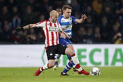 (L-R) Jorrit Hendrix of PSV, Erik Bakker of PEC Zwolle during the Dutch Eredivisie match between PSV Eindhoven and PEC Zwolle at the Phillips stadium on February 03, 2018 in Eindhoven, The Netherlands