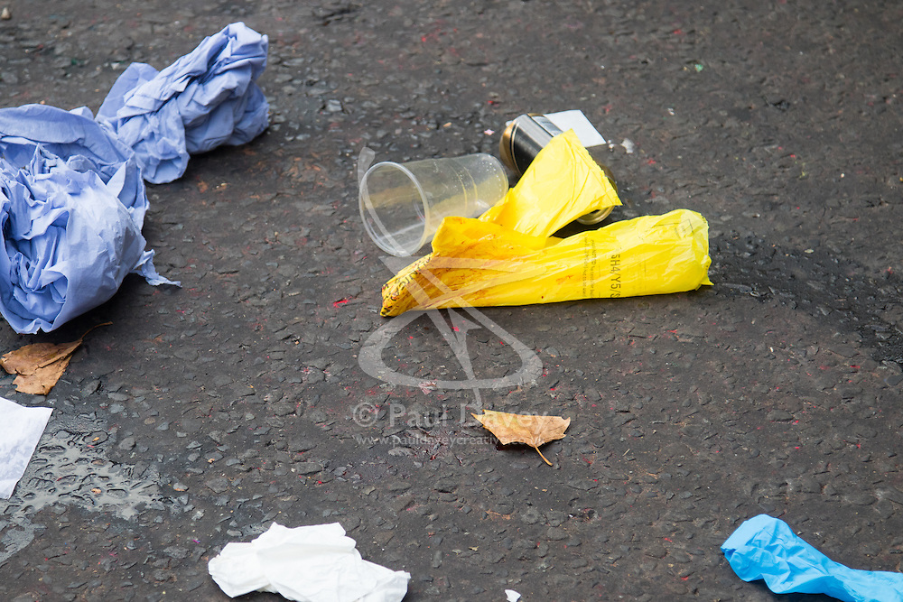 London, August 28th 2016. Scenes of Crimes officers at the scene of what bystanders say was one of two stabbings within yards of each other during Family Day at Europe's biggest street party, the Notting Hill Carnival.