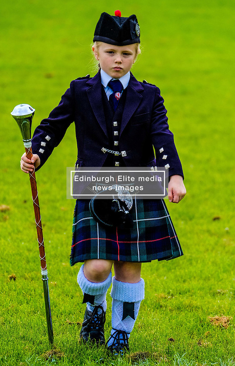 Peebles, Scotland UK  3rd September 2016. Peebles Highland Games, the biggest 'highland' games in the Scottish  Borders took place in Peebles on September 3rd 2016 featuring pipe band contests, highland dancing competitions, haggis hurling, hammer throwing, stone throwing and other traditional events.<br /> <br /> Pictured:  a young Pipe Major in the solo competition<br /> <br /> (c) Andrew Wilson   Edinburgh Elite media