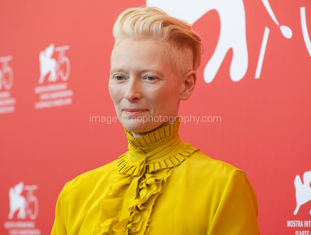 Tilda Swinton at the photocall for the film Suspiria at the 75th Venice Film Festival, on Saturday 1st September 2018, Venice Lido, Italy.