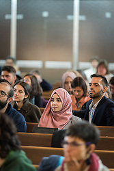 1 December 2019, Madrid, Spain: Muslim woman Hana Elabdallaoui participates as representatives of various faiths gather in the Iglesia de Jesús (Church of Christ) of the Iglesia Evangélica Española (Evangelical Church of Spain) for an interfaith dialogue and prayer service on the eve of the United Nations climate conference (COP25) in Madrid, Spain.
