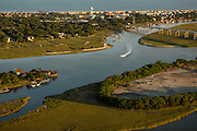 Aerial view of the intracoastal waterway behind Isle of Palms in Charleston, SC