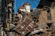 Devastating April 2015 Nepal Earthquake. Collapsed buildings in Panga Village, Kirtipur, Kathmandu Valley. More than a third of the houses in Panga were destroyed, most of them old traditional houses made of brick