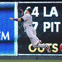 August 23, 2017 - Kansas City, MO, USA - Colorado Rockies right fielder Carlos Gonzalez catches a fly ball out on the Kansas City Royals' Alex Gordon in the second inning at Kauffman Stadium in Kansas City, Mo., on Wednesday, Aug. 23, 2017. (Credit Image: © John Sleezer/TNS via ZUMA Wire)