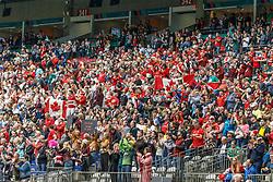 March 10, 2018 - Vancouver, British Columbia, U.S. - VANCOUVER, BC - MARCH 10:  Excited crowd  getting ready for Game # 7- Australia vs Canada Pool A match at the Canada Sevens held March 10-11, 2018 in BC Place Stadium in Vancouver, BC. (Photo by Allan Hamilton/Icon Sportswire) (Credit Image: © Allan Hamilton/Icon SMI via ZUMA Press)