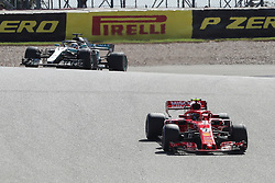 October 21, 2018 - Austin, TX, U.S. - AUSTIN, TX - OCTOBER 21: Ferrari driver Kimi Raikkonen (7) of Finland leads Mercedes driver Lewis Hamilton (44) of Great Britain out of turn 2 during the F1 United States Grand Prix on October 21, 2018, at Circuit of the Americas in Austin, TX. (Photo by John Crouch/Icon Sportswire) (Credit Image: © John Crouch/Icon SMI via ZUMA Press)