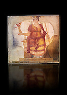 """Fresco of Venus sitting restored as Roma  known as the """"Dea Barberini"""" (""""Barberini goddess""""), dating from the first quarter of the fourth century. A.D, excavated near to Baptistery of St. John Lateran , Rome Museo Nazionale Romano ( National Roman Museum), Rome, Italy. Against a black background. .<br /> <br /> If you prefer to buy from our ALAMY PHOTO LIBRARY  Collection visit : https://www.alamy.com/portfolio/paul-williams-funkystock/national-roman-museum-rome-fresco.html<br /> <br /> Visit our ROMAN ART & HISTORIC SITES PHOTO COLLECTIONS for more photos to download or buy as wall art prints https://funkystock.photoshelter.com/gallery-collection/The-Romans-Art-Artefacts-Antiquities-Historic-Sites-Pictures-Images/C0000r2uLJJo9_s0"""