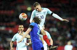 Jamie Vardy of England battles for the high ball with Daley Blind of the Netherlands  - Mandatory by-line: Dougie Allward/JMP - 29/03/2016 - FOOTBALL - Wembley Stadium - London, United Kingdom - England v Netherlands - International Friendly