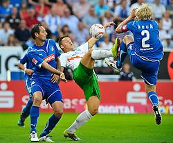 21.08.2010, Rhein-Neckar-Arena, Sinsheim, GER, 1. FBL, TSG Hoffenheim vs Werder Bremen, im Bild vl. Josip Simunic (Hoffenheim CRO #14), Marko Arnautovic (Bremen #7), Andreas Beck (Hoffenheim GER #2),EXPA Pictures © 2010, PhotoCredit: EXPA/ nph/  Roth+++++ ATTENTION - OUT OF GER +++++ / SPORTIDA PHOTO AGENCY