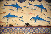 Grèce, Crète, site archéologique minoen de Knossos, la fresque aux dauphins // Greece, Crete island, Iraklion, archeological site of Knossos, dolphin fresco