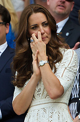 02.07.2014, All England Lawn Tennis Club, London, ENG, ATP Tour, Wimbledon, im Bild Catherine Middleton (Dutchess of Cambridge) as Andy Murray is defeated during the Gentlemen's Singles Quarter-Final match on day nine // during the Wimbledon Championships at the All England Lawn Tennis Club in London, Great Britain on 2014/07/02. EXPA Pictures © 2014, PhotoCredit: EXPA/ Propagandaphoto/ David Rawcliffe<br /> <br /> *****ATTENTION - OUT of ENG, GBR*****
