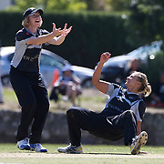 Suzie Bates and Captain Haidee Tiffen (left) celebrate after Bates dismissed South African batter Alicia Smith caught and bowled during the South Africa  V New Zealand group A match at Bradman Oval in the ICC Women's World Cup Cricket Tournament, in Bowral, Australia on March 12, 2009. New Zealand won by 199 runs. Photo Tim Clayton